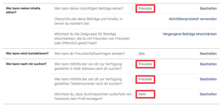 Facebook-Privatshäre-Einstellungen